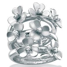 CZ Silver Flower Ring | Shop PalmBeach  & Save!
