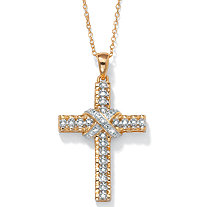 Diamond Accent 18k Yellow Gold over Sterling Silver Religious Cross Pendant and Cable Chain 18