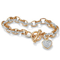 Diamond Accent 18k Yellow Gold Over Sterling Silver Oval-Link Heart Charm Bracelet 7 1/4""