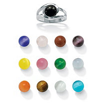 Sterling Silver 14-Piece Interchangeable Multi-Stone Ring Set