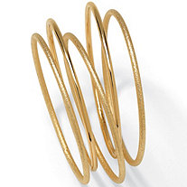 5 Piece Bangle Bracelet Set in Textured and Polished Yellow Gold Tone