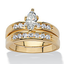 1.78 TCW Marquise-Cut Cubic Zirconia 14k Yellow Gold-Plated Bridal Engagement Wedding Band Set