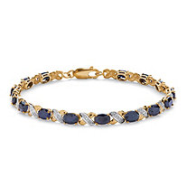 "8.40 TCW Oval-Cut Genuine Blue Sapphire 10k Yellow Gold ""X & O"" Tennis Bracelet 7 1/2"""
