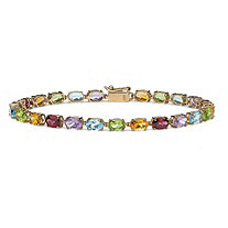 11.89 TCW Oval-Cut Genuine Multi-Gemstones 10k Yellow Gold Tennis Bracelet 7 1/4""