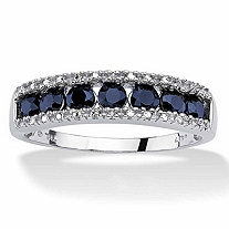1.05 TCW Round Genuine Blue Sapphire and Diamond Accent 10k White Gold Ring
