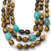 "Oval-Shaped Genuine Turquoise and Tiger's Eye Sterling Silver Bib Necklace Adjustable 17"" to 20"""