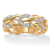 Round 18k Yellow Gold Over Sterling Silver Diamond Accent BraI.D.ed Band Ring