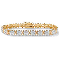 1/4 TCW Round Diamond Flower Tennis Bracelet in 18k Gold over Sterling Silver