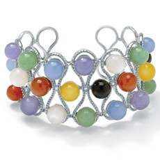 Multi-Colored Jade Cuff 7 1/4