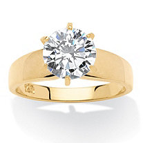3-Carat Round Cubic Zirconia 18k Gold over Sterling Silver Solitaire Bridal Engagement Ring