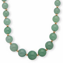 Genuine Jade 10k Yellow Gold Beaded Graduated Necklace 18