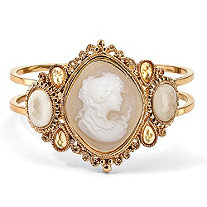 Vintage Style Cameo Hinged Bangle Bracelet in Yellow Gold Tone 7 1/2""