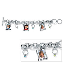 Birthstone Baby Ring/Photo Charm Bracelet 8""