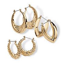 3 Pair Hoop Earrings Set in Yellow Gold Tone