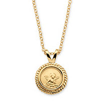 14k Yellow Gold-Plated Guardian Angel Charm Pendant and Chain 18