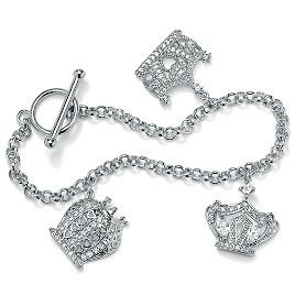 DiamonUltra CZ Silvertone Crown Charm Bracelet