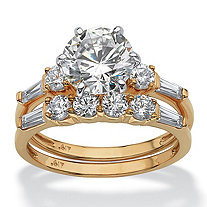 2 Piece 3.60 TCW Round Cubic Zirconia Bridal Ring Set in 10k Gold