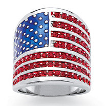 Round Red Crystal Silvertone Patriotic American Flag Ring