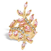 3.40 TCW Marquise-Cut Pink Cubic Zirconia with Crystal Accents 14k Yellow Gold-Plated Leaf Ring