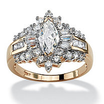 2.19 TCW Marquise-Cut Cubic Zirconia Ring in 10k Gold