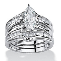 3.56 TCW Marquise-Cut Cubic Zirconia Sterling Silver 2-Piece Bridal Engagement Ring Wedding Band Set