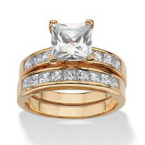 2 Piece 3.65 TCW Princess-Cut Cubic Zirconia Bridal Ring Set in 18k Gold over Sterling Silver
