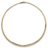 Omega Link Choker Necklace in Yellow Gold Tone 16""