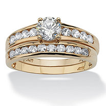2 Piece 1.06 TCW Round Cubic Zirconia Bridal Ring Set in 10k Gold