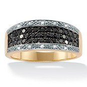 5/8 TCW Round Black and White Diamond 10k Yellow Gold Channel-Set Ring