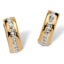 Diamond Accent 14k Yellow Gold Diamond Fascination Huggie Hoop Earrings