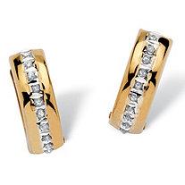 Diamond Accent 14k Yellow Gold Diamond Fascination Huggie Hoop Earrings