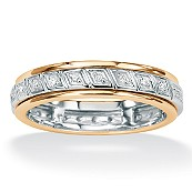 .12 TCW Round Diamond 10k Yellow Gold Spinner Band Ring
