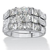 4.74 TCW Princess-Cut Cubic Zirconia Sterling Silver 3-Piece Bridal Engagement Wedding Band Set