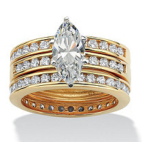 3.65 TCW Marquise-Cut Cubic Zirconia 18k Yellow Gold over Sterling Silver 3-Piece Wedding Set