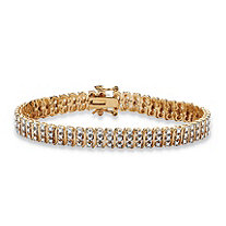 "Diamond Accent 18k Gold over Sterling Silver ""S"" -Link Tennis Bracelet 8"""