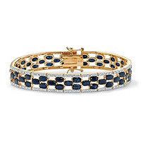 20.65 TCW Oval-Cut Midnight Blue Sapphire 18k Yellow Gold Over Sterling Silver Bracelet 7 1/4""