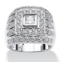 Men's 2.88 TCW Square and Round Cubic Zirconia Sterling Silver Bezel-Set Ring