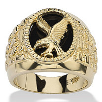 Men's Oval-Shaped Genuine Onyx 18k Gold over Sterling Silver Nugget-Style Eagle Ring
