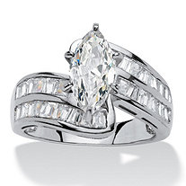4.10 TCW Marquise-Cut Cubic Zirconia Platinum over Sterling Silver Engagement/Anniversary Ring