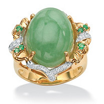 .28 TCW Emerald, CZ and Jade Ring in Sterling Silver with a Golden Finish