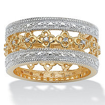 1/8 TCW Round Diamond 18k Gold over Sterling Silver Filigree Flower Motif Eternity Band