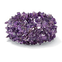 Nugget-Cut Genuine Amethyst Stretch Bracelet 7""