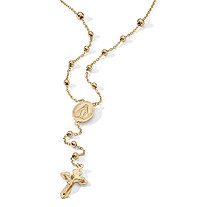 18k Yellow Gold Over Sterling Silver Rosary Bead Necklace 17""