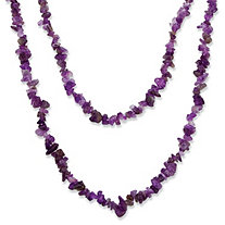 Nugget-Cut Genuine Amethyst Necklace 54""