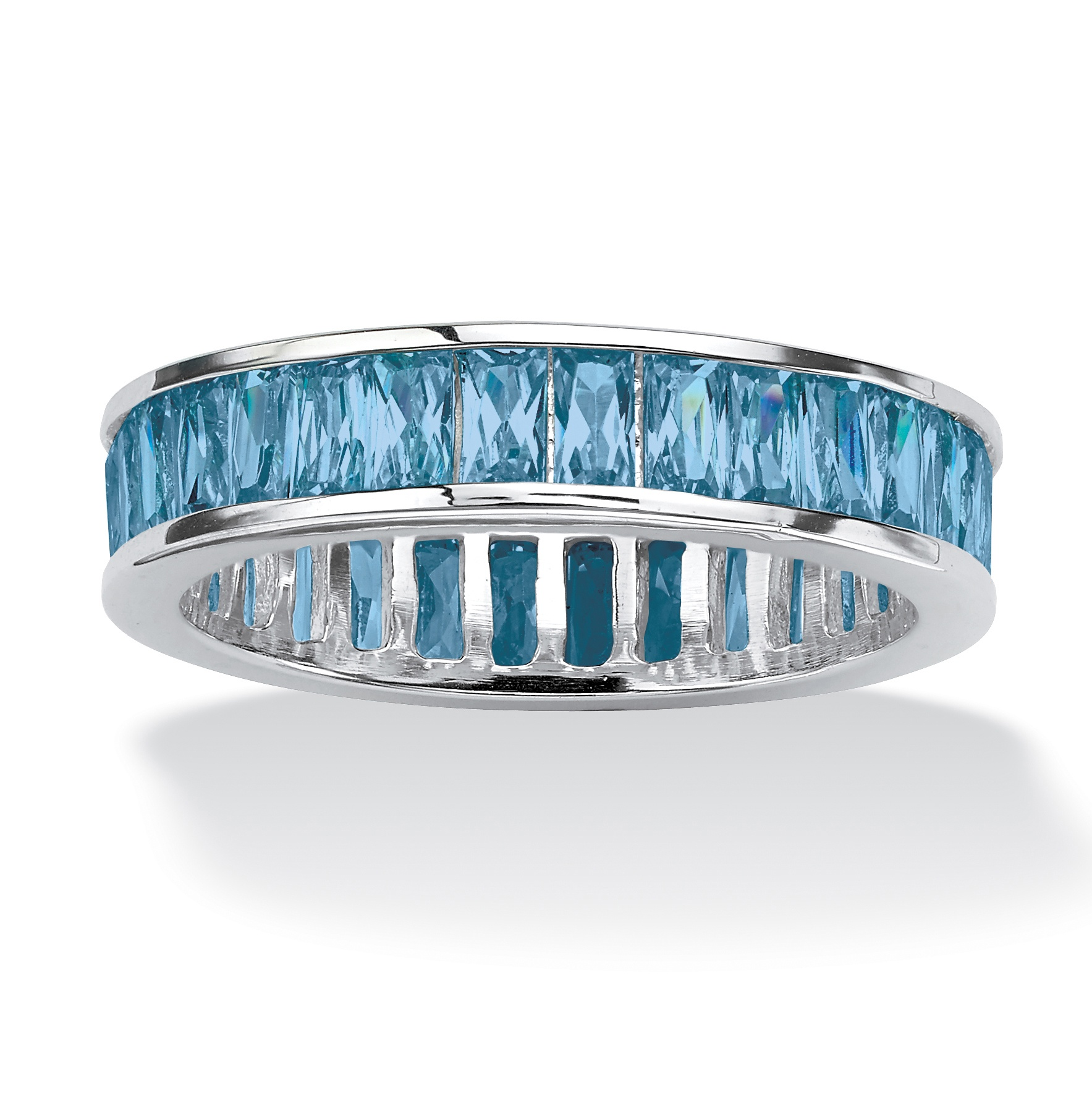 PalmBeach Jewelry Emerald-Cut Birthstone Sterling Silver Eternity Band- March at Sears.com