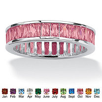 Emerald-Cut Birthstone Eternity Band in Sterling Silver