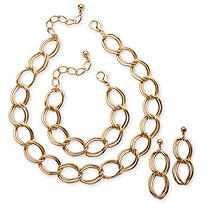3 Piece Double Curb-Link Necklace, Bracelet and Earrings Set in Yellow Gold Tone