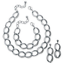 3 Piece Double Curb-Link Necklace, Bracelet and Earrings Set in Silvertone