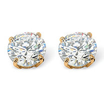 1.80 TCW Round Cubic Zirconia 10k Yellow Gold Stud Earrings