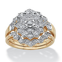 1/7 TCW Round Diamond Pave 10k Yellow Gold 3-Piece Bridal Engagement Cluster Ring Set